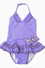 "Isobella & Chloe Lovely Lilac ""Plum Passion"" One Piece Halterneck Swimsuit<br>Sizes 4T - 10"