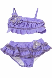 "Isobella & Chloe Lovely Lilac ""Plum Passion"" Two Piece Skirted Bikini<br>Sizes 12M - 14"