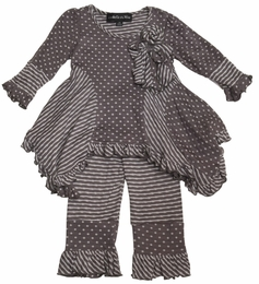"Isobella & Chloe ""Miss Mayhem"" Grey Hanky Hem Tunic & Legging Set"