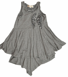 "Isobella & Chloe ""Misty Heather"" Grey Striped Hi-Lo Swingy Dress<br>Sizes 4-14"