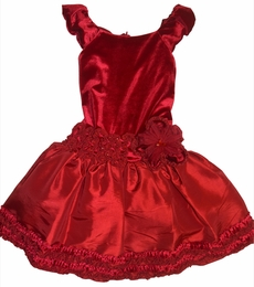 "Isobella & Chloe ""Monet"" Holiday Red Velour Sleeveless Dress<br>*PREORDER*"