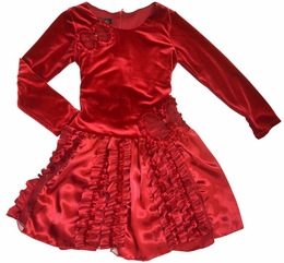 "Isobella & Chloe ""Monet"" Red Velour Holiday Drop Waist Dress"