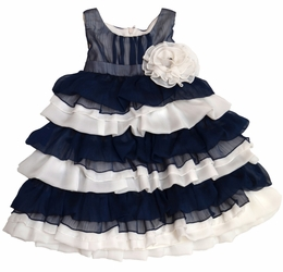 "Isobella & Chloe Navy ""Blue Lagoon"" Ruffle Dress"