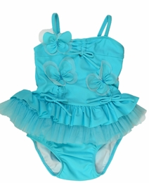 "Isobella & Chloe ""Ocean Plunge"" Turquoise Two Piece Tankini Swimsuit<br>Sizes 12m - 6X"