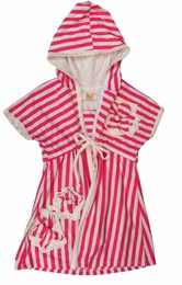 Isobella & Chloe Pink Striped Beach Cover Up