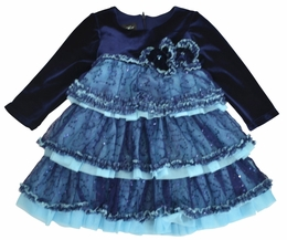 "Isobella & Chloe ""Sabrina"" Gorgeous Navy Layered Fancy Dress *FINAL SALE*"