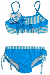 "Isobella & Chloe ""Sailing Away"" Stripe Turquoise Tube Top Bikini"