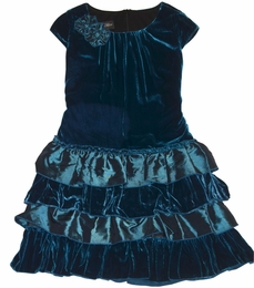 "Isobella & Chloe ""Sapphire"" Beautiful Drop Waist Velour Dress"