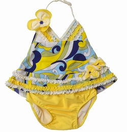 "Isobella & Chloe Sassy ""Caribbean Current"" Two Piece Tankini Swimsuit<br>Sizes 2T -6X"