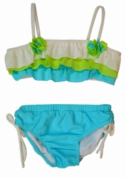 "Isobella & Chloe ""Sea Breeze"" Layered Turquoise Bikini Swimsuit<br>Sizes 4-14"