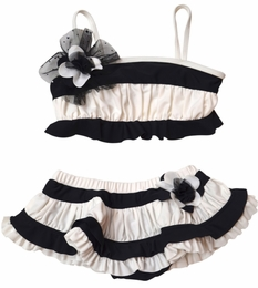 "Isobella & Chloe ""Sparkling Tide"" Black & White Skirted Two Piece Swimsuit<br>Sizes 2T-14"