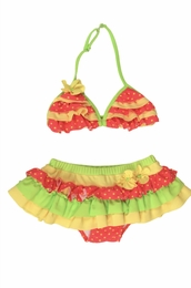 "Isobella & Chloe ""Starfruit"" Watermelon Skirted Two Piece Swimsuit<br>Sizes 4-10"