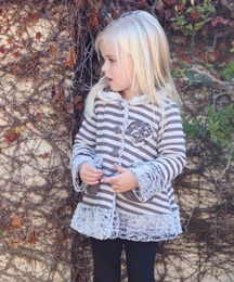 "Isobella & Chloe ""Taylor"" Perfectly Striped Minky Soft Snap Coat"