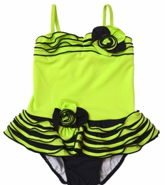 """Isobella & Chloe """"Tidal Wave"""" Lime & Black Skirted One Piece Swimsuit-SOLD OUT!"""