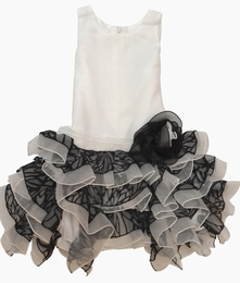 "Isobella & Chloe Black and White Drop Waist ""Dancing Queen"" Dress<br>Sizes 4-14"