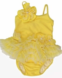"Isobella & Chloe Yellow ""Lemon Drop"" Two Piece Tankini Swimsuit<br>Sizes 12m - 6X"