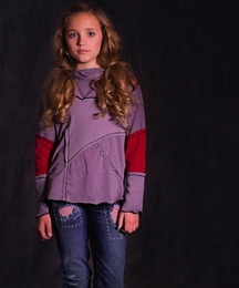 "Jak & Peppar Aubergine ""Piece it Together"" Cowl Neck Top"