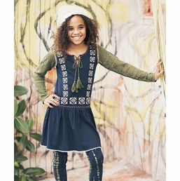 "Jak & Peppar Navy Olive ""Days on Fire"" Tunic Top *FINAL SALE* SIZE 16"