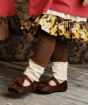 "Joyfolie ""Amelie"" Brown Ruffle Shoe<br>Size 9 - click to enlarge"