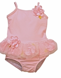 "Kate Mack Ballet Pink ""Secret Garden"" Tankini Swimsuit w/Rosettes<Br>Sizes 12M - 4T"