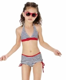 "Kate Mack ""Bateau L'Amour"" Navy Two Piece Boy Leg Swimsuit"