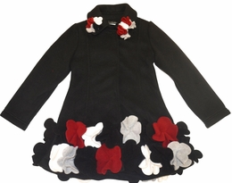 Kate Mack Black Polar Fleece Flower Coat