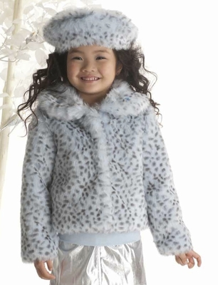 "Kate Mack ""Born to Be Wild"" Blue Spotted Fabulous Faux Fur Jacket *FINAL SALE* SOLD OUT! - click to enlarge"
