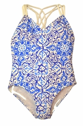 "Kate Mack ""Butterfly Beach"" Blue Tank Swimsuit"