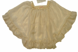 "Kate Mack ""Dipped In Magic"" Gold Chiffon Classy Coverup<Br>Sizes 7 - 16"