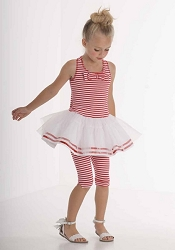 "Kate Mack ""Eau So French"" Red Striped Tunic & Capri Two Piece Set<Br>Sizes 4 - 10"