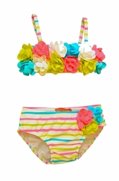 "Kate Mack ""Garden Stripe"" Floral Rosette Bikini<Br>Sizes 9M - 4T"