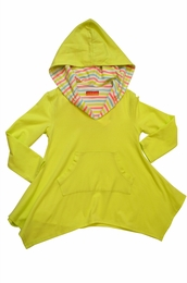 "Kate Mack ""Garden Stripe"" Lime Green Hoodie Coverup<Br>Sizes 2T - 10"