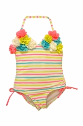"Kate Mack ""Garden Stripe"" One Piece Swim Tank with Rosettes<Br>Sizes 4 - 10"