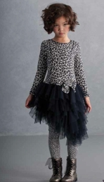 "Kate Mack Gorgeous ""Wild Things"" Navy Dress with Asymmetrical Net Skirt"