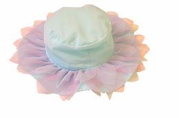 "Kate Mack ""Lovebirds"" Aqua Blue Hat with Sweet Netting<Br>Size 2T - 7 **FLYING FAST!"