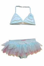 "Kate Mack ""Lovebirds"" Gorgeous Aqua Blue Skirted Net Bikini<Br>Sizes 4 - 10"
