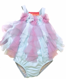 "Kate Mack Lovely ""Lovebirds"" Aqua Netted Tankini<Br>Sizes 9M - 4T"