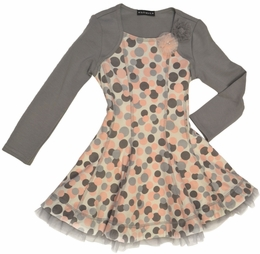 "Kate Mack ""Mirror Mirror"" Grey & Pink Print Sweet Silhouette Dress ""PREORDER"""