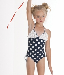 "Kate Mack ""Monte Carlo"" Navy Dotted One Piece Dotted Halterneck ""Monte Carlo"" Swimsuit<Br>Sizes 2T - 10"