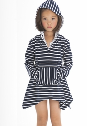 "Kate Mack ""Monte Carlo"" Navy Striped Hoodie Versatile Coverup<Br>Sizes 9M - 16"