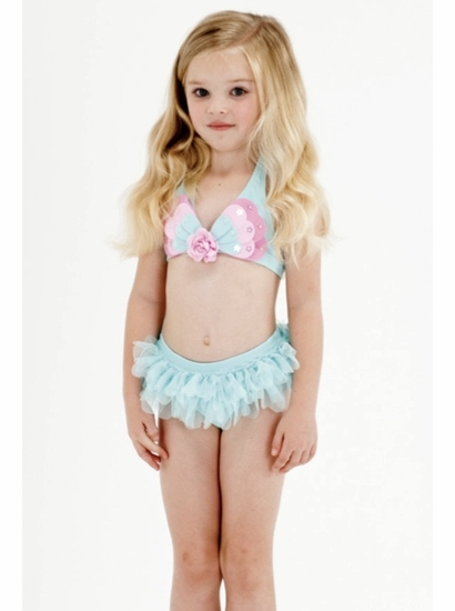 """Kate Mack Must """"Butterfly Wishes"""" GORGEOUS Aqua Skirted Two Piece Swimsuit"""
