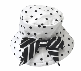 "Kate Mack Navy & White ""Monte Carlo"" Dotted Hat<Br>Sizes 9M-7"