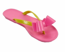 "Kate Mack ""NEW"" Classic ""Essentials"" Pink and Lime Flip Flops Sizes 4/6 (little girl) - 6/8 (big girl)"