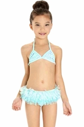 "Kate Mack ""Paradise Palms"" Sweet Aqua Skirted Bikini"