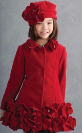 "Kate Mack ""Polar Perfection"" Gorgeous Red Flowerette Coat"