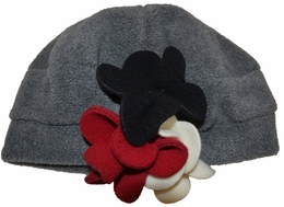 "Kate Mack ""Polar Perfection"" Grey & Red Flowerette Hat"