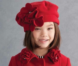 "Kate Mack ""Polar Perfection"" Red Flowerette Hat"