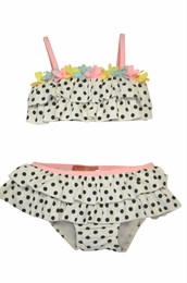 "Kate Mack ""Poolside Posies"" Black & White Dotted Skirted Baby & Toddler Bikini"