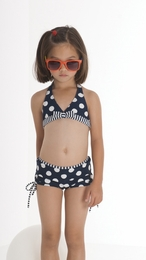 "Kate Mack Precious Navy Dotted ""Monte Carlo"" Boy Cut Two Piece Swimsuit<Br>Sizes 5 - 16"