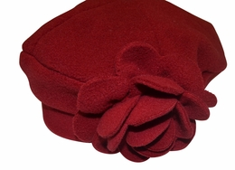 Kate Mack Red Polar Fleece Flower Hat